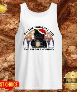 Perfect Santa Black Cat On The Naughty List And I Regret Nothing Vintage Tank Top - Design By Potatotees.com