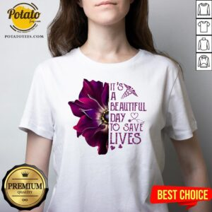 Premium It's A Beautiful Day To Save Lives V-neck - Design By Potatotees.com