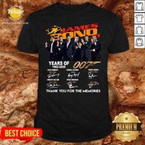 Premium James Bond Years of 007 1962 2020 Signatures Shirt - Design By Potatotees.com