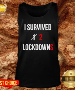 Pretty I Survived 2 Lockdowns Tank Top - Design By Potatotees.com