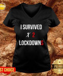 Pretty I Survived 2 Lockdowns V-neck - Design By Potatotees.com