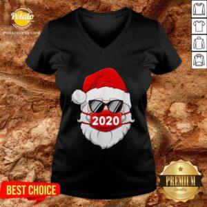 Pretty Santa With Face Mask Christmas V-neck - Design By Potatotees.com