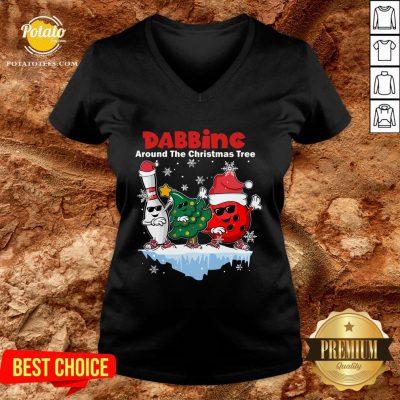 Top Bowling Dabbing Around The Christmas Tree V-neck - Design By Potatotees.com
