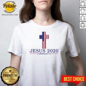 Top Jesus 2020 2 Chronicles 714 V-neck - Design By Potatotees.com