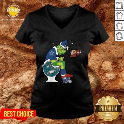 Top The Grinch Dallas Cowboys Shit On Toilet Philadelphia Eagles And Other Teams Christmas V-neck- Design By Potatotees.com