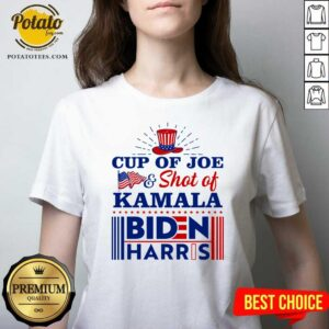 American Flag Cup Of Joe And Shot Of Kamala Biden Harris V-neck - Design by Potatotees.com