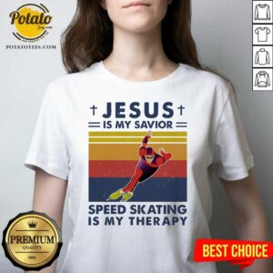 Jesus Is My Savior Speed Skating Is My Therapy Vintage V-neck- Design by Potatotees.com