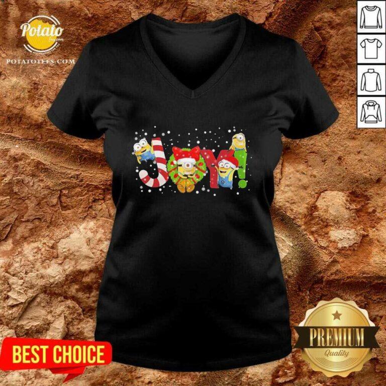 Awesome Joy Minions Christmas V-neck - Design by potatotees.com