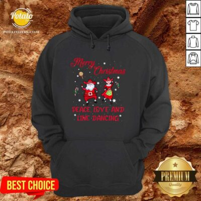 Awesome Merry Christmas Peace Love And Line Dancing Hoodie - Design by potatotees.com