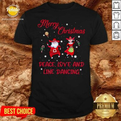 Awesome Merry Christmas Peace Love And Line Dancing Shirt - Design by potatotees.com