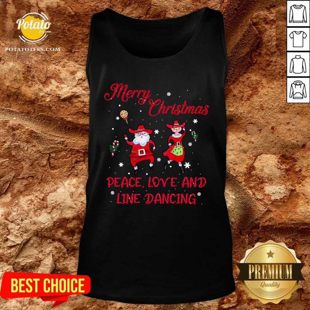 Awesome Merry Christmas Peace Love And Line Dancing Tank Top - Design by potatotees.com