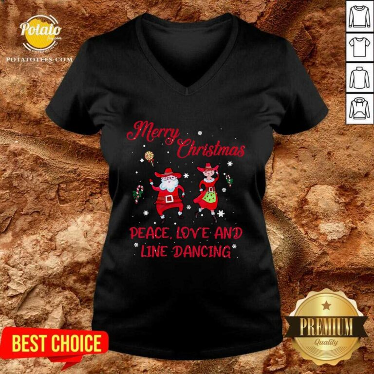Awesome Merry Christmas Peace Love And Line Dancing V-neck - Design by potatotees.com