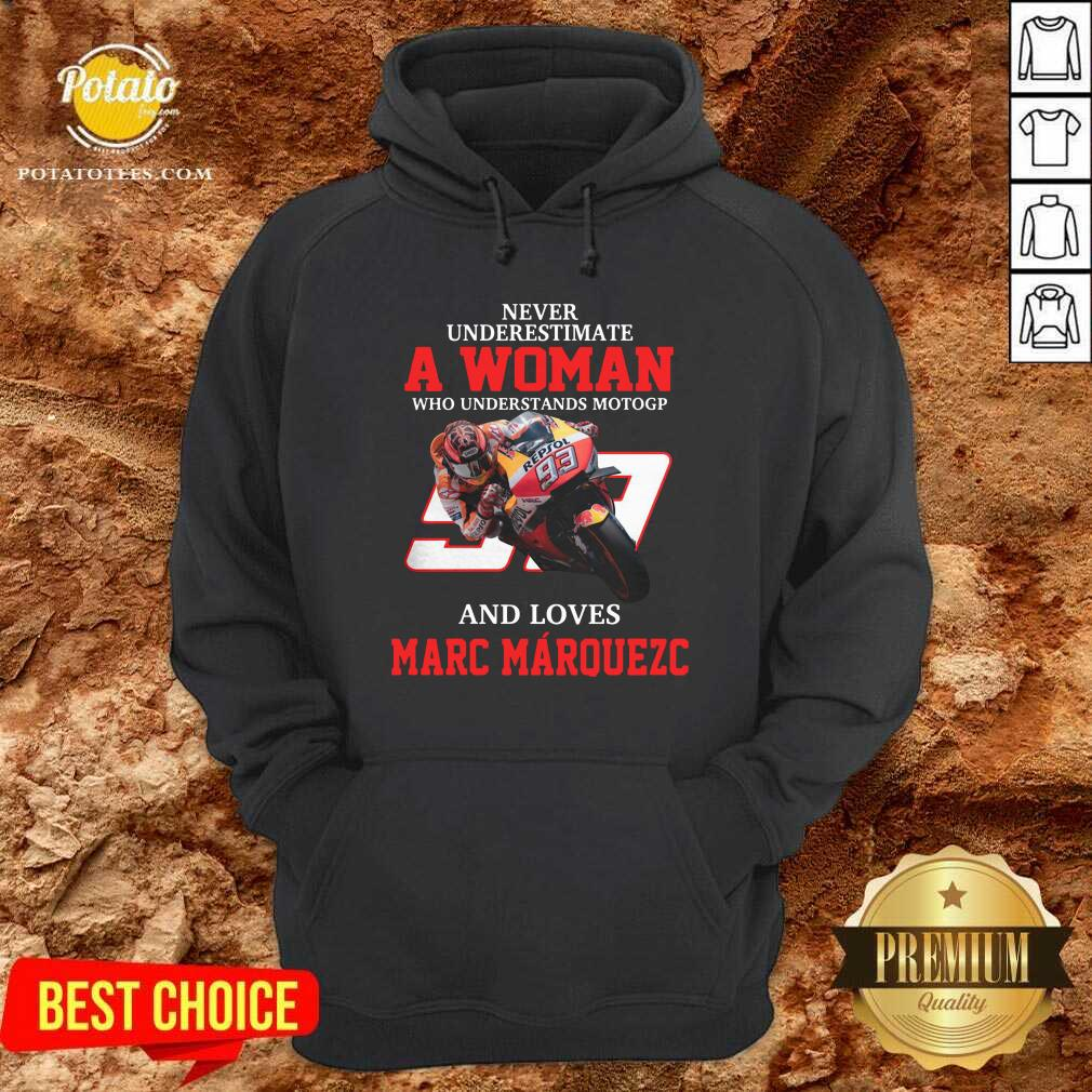 Never Underestimate A Woman Who Understand Motogp And Love Marc Marquez Hoodie- Design by Potatotees.com