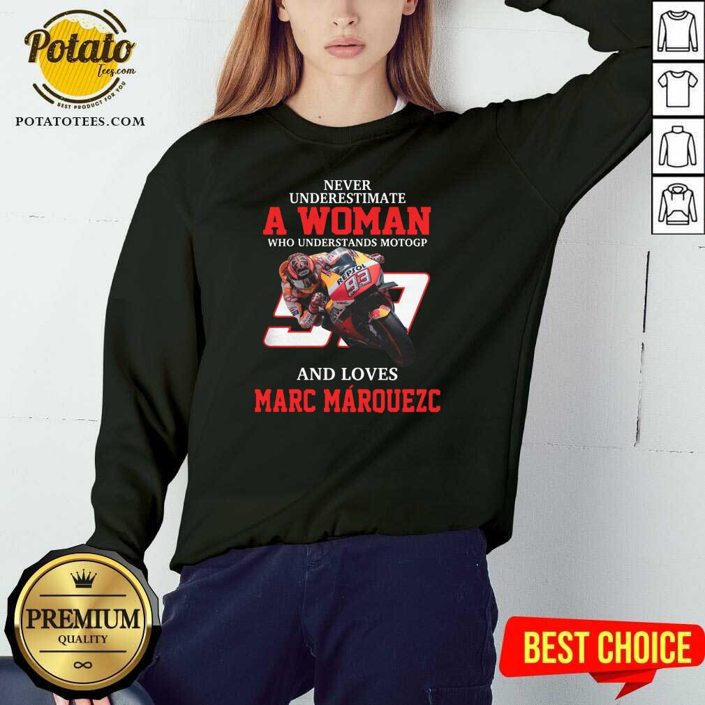 Never Underestimate A Woman Who Understand Motogp And Love Marc Marquez Sweatshirt- Design by Potatotees.com