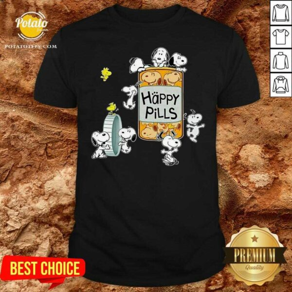 Snoopy And Woodstock Happy Pills Shirt - Design By Potatotees.com