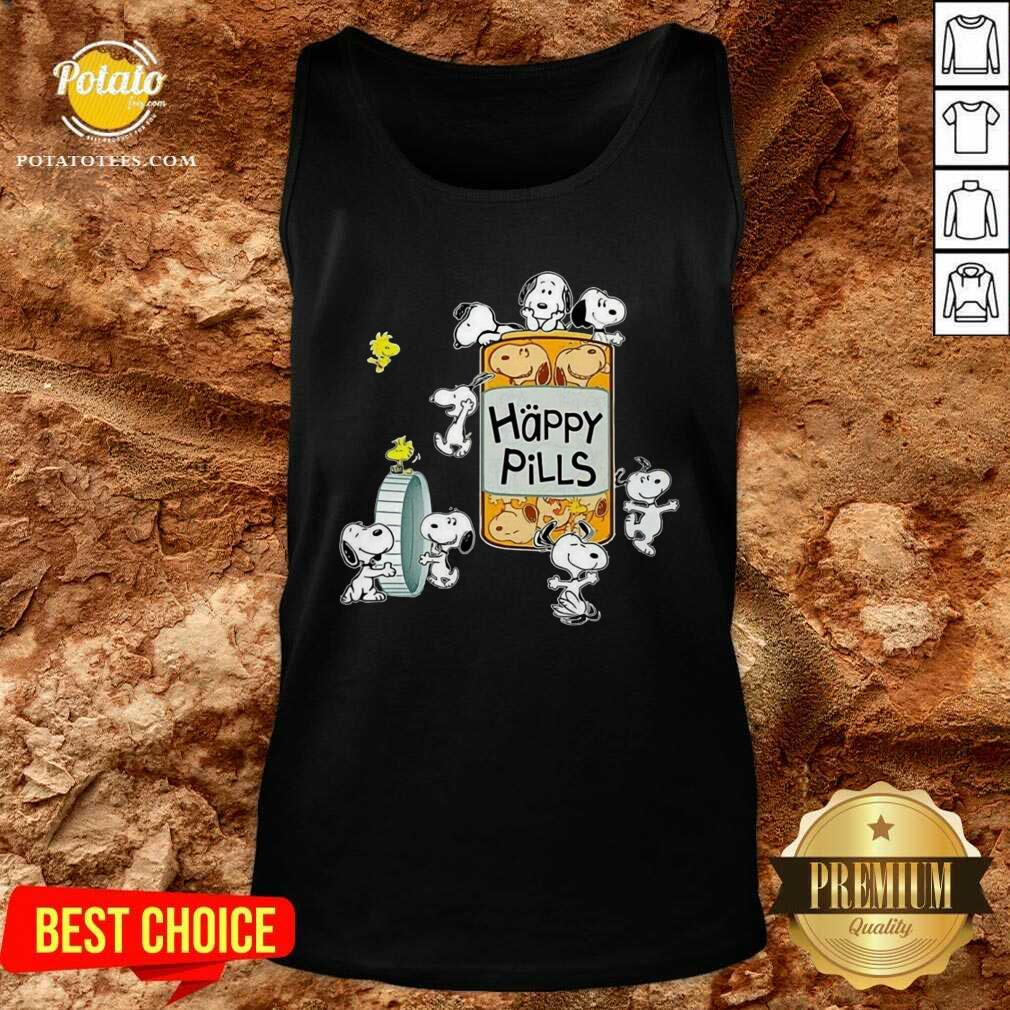 Snoopy And Woodstock Happy Pills Tank-Top - Design By Potatotees.com