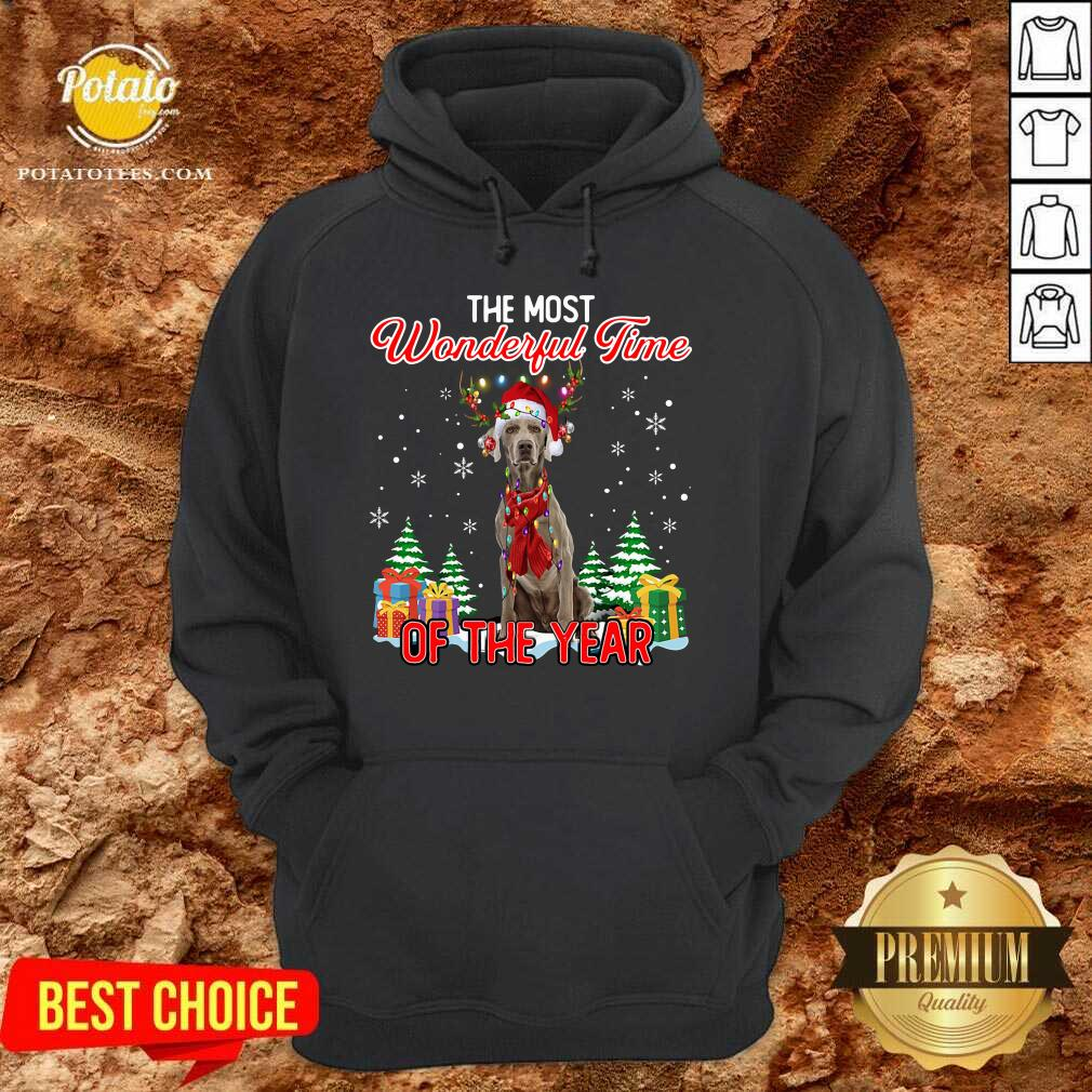 Awesome Weimaraner The Most Wonderful Time Of The Year Ugly Christmas Hoodie - Design by Potatotees.com