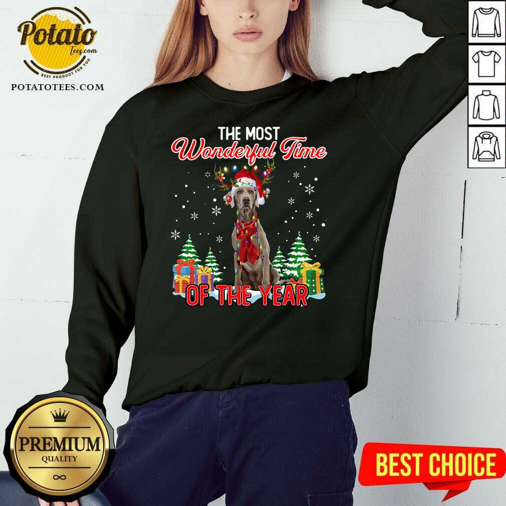 Awesome Weimaraner The Most Wonderful Time Of The Year Ugly Christmas Sweatshirt - Design by Potatotees.com