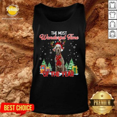 Awesome Weimaraner The Most Wonderful Time Of The Year Ugly Christmas Tank Top - Design by Potatotees.com