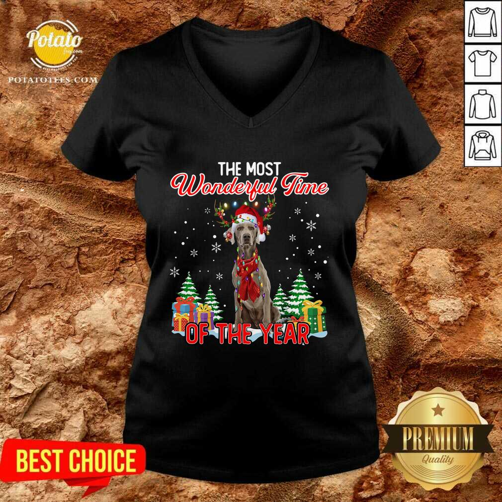 Awesome Weimaraner The Most Wonderful Time Of The Year Ugly Christmas V-neck - Design by Potatotees.com