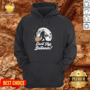 Cool Dont Stop Believin Funny Bigfoot Santa Moon Christmas Hoodie - Design By Potatotees.com