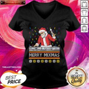 Cute Santa Claus Music Merry Mimas Ugly Christmas V-neck - Design By Earstees.com