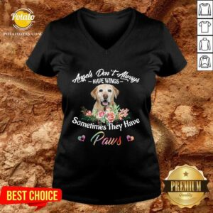 Angels Don't Always Have Wings Labrador Retriever Sometimes They Have Paws V-neck- Design by Waretees.com