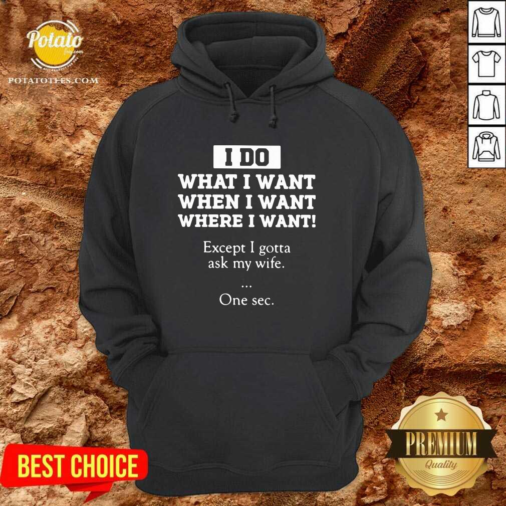 I Do What I Want Except I Gotta Ask My Wife One Sec Hoodie- Design by Potatotees.com