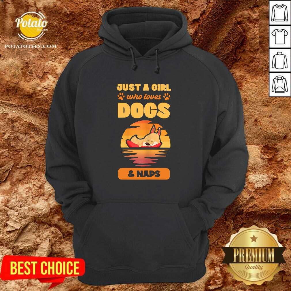 Just A Girl Who Loves Dogs And Naps Hoodie- Design by Potatotees.com