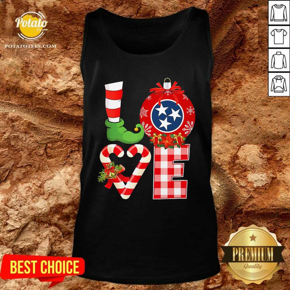 Funny Love Flag Of Tennessee State Christmas Tank Top - Design by potatotees.com