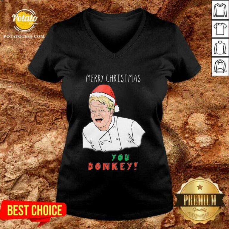 Funny Merry Christmas Chef You Donkey V-neck - Design by potatotees.com