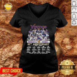 Minnesota Vikings 60th Anniversary Thank You For The Memories Signatures V-neck - Design By Potatotees.com