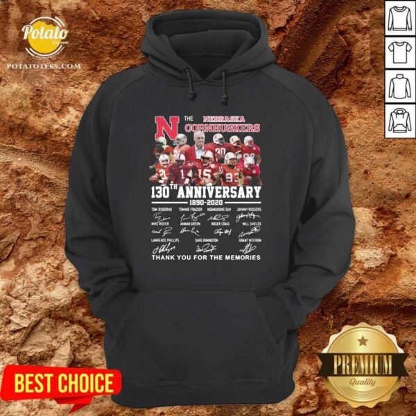 The Nebraska Cornhuskers 130th Anniversary 1890 2021 Signature Thank You For The Memories Hoodie - Design By Potatotees.com