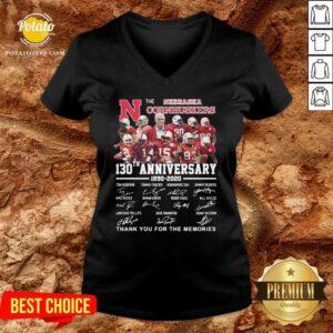 The Nebraska Cornhuskers 130th Anniversary 1890 2021 Signature Thank You For The Memories V-neck - Design By Potatotees.com