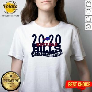2020 Buffalo Bills Afc East Champions V-neck- Design by Potatotees.com