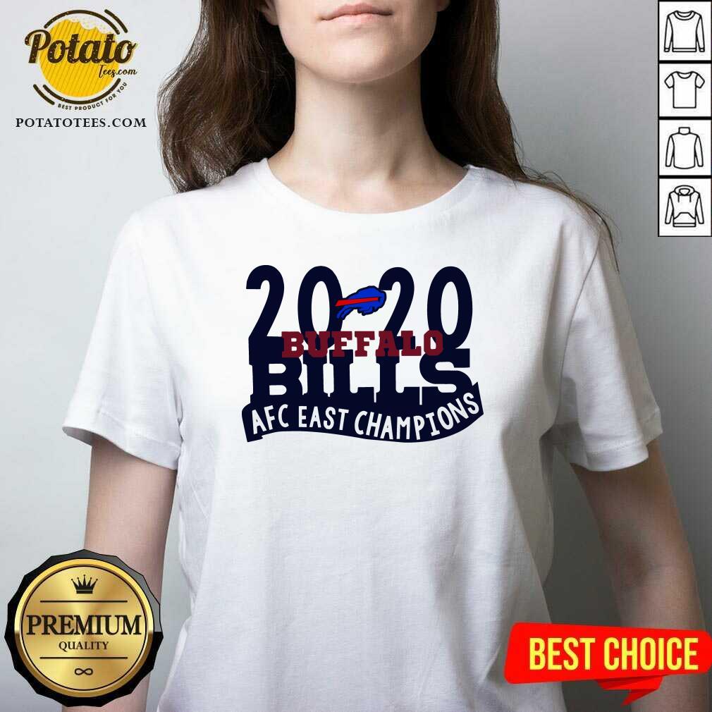 2020 Buffalo Bills Afc East Champions V-neck- Design by Potatotees.com