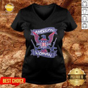 American Live Love Shoot Woman V-neck- Design by Potatotees.com