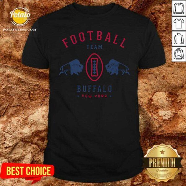 Cool Modern Buffalo Bills Retro Team Crest Shirt - Design by Potatotees.com