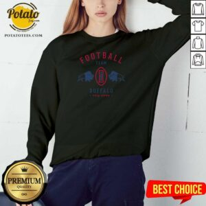 Cool Modern Buffalo Bills Retro Team Crest Sweatshirt - Design by Potatotees.com