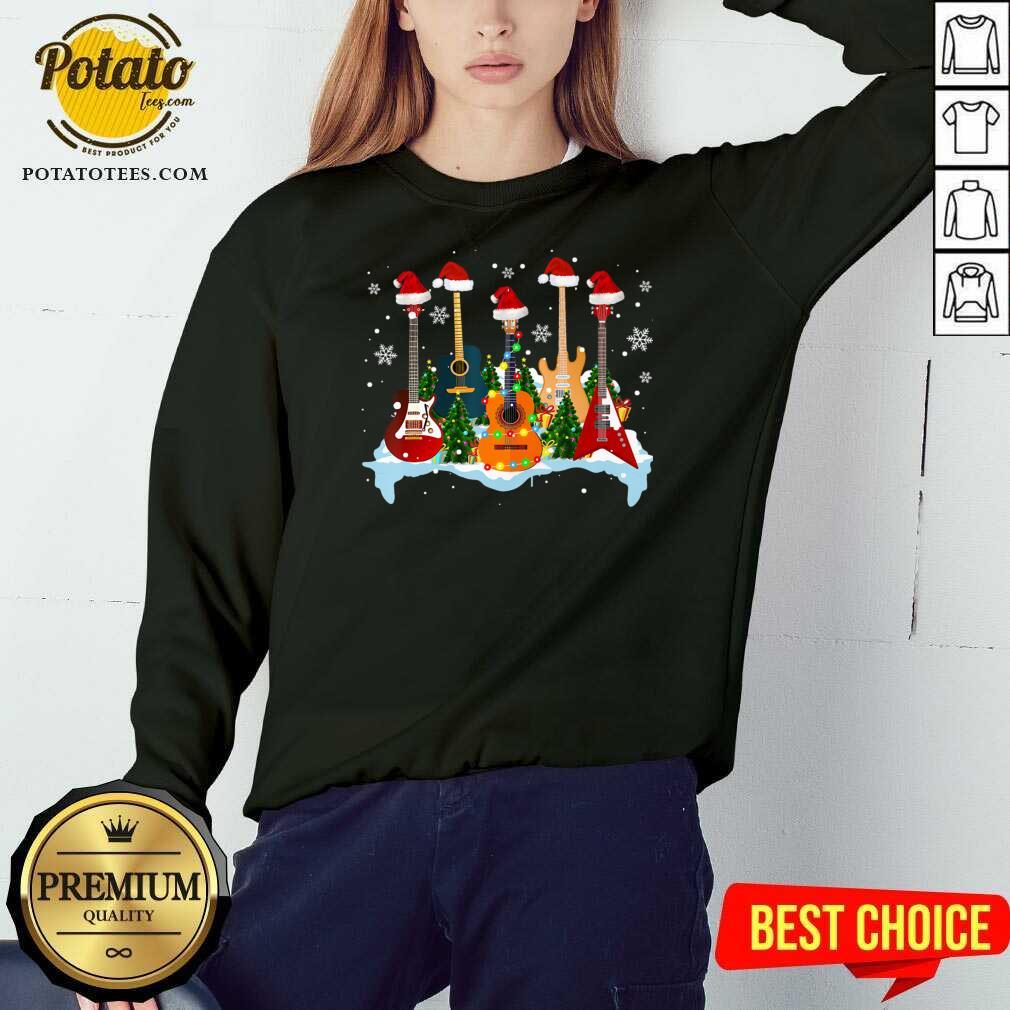 Good Guitar Hat Santa Merry Christmas 2020 Sweatshirt - Design by potatotees.com