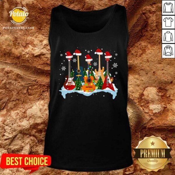 Good Guitar Hat Santa Merry Christmas 2020 Tank Top - Design by potatotees.com