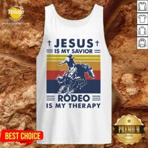Jesus Is My Savior Rodeo Is My Therapy Vintage Tank-Top- Design by Potatotees.com