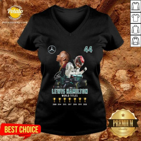 Lewis Hamilton World Titles 2008 2014 2015 2017 2018 2019 Signature V-neck- Design by Potatotees.com