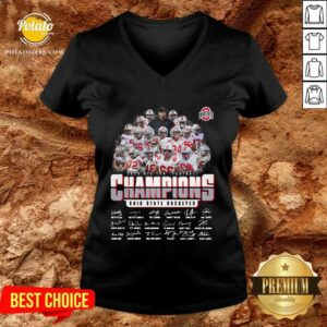 Ohio State Buckeyes 2020 Big Ten Football Champions Signatures V-neck - Design by Potatotees.com