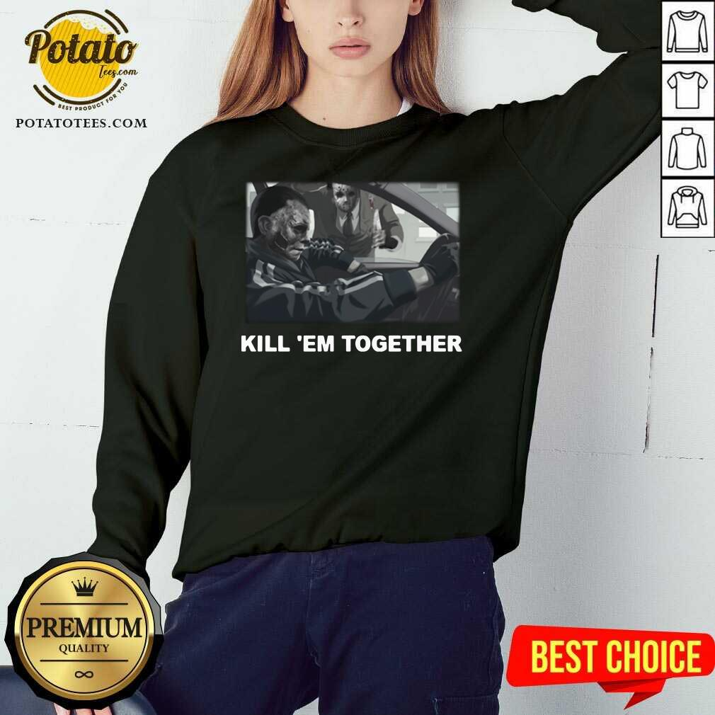 Happy Horror Michael And Jason Voorhees Kill 'em Together Sweatshirt- Design By Potatotees.com
