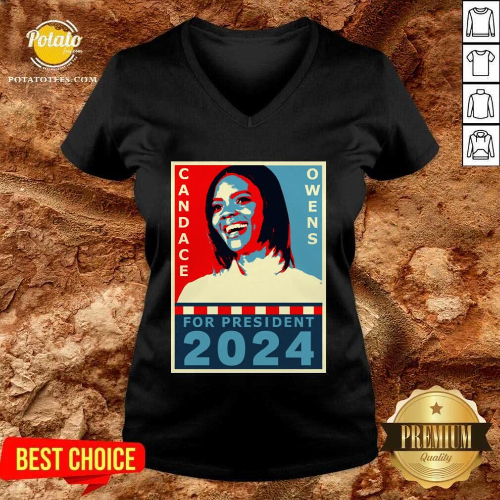 Candace Owens For President 2024 V-neck - Design by Potatotees.com