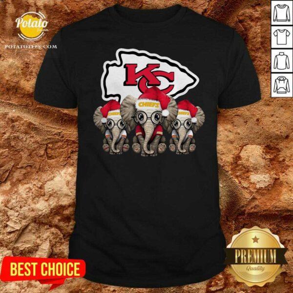 Nice Cute Kansas City Chiefs Elephant Christmas Shirt - Design by potatotees.com