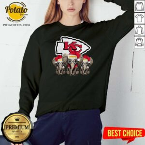 Nice Cute Kansas City Chiefs Elephant Christmas Sweatshirt - Design by potatotees.com