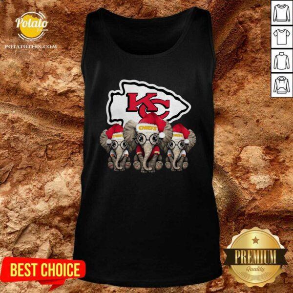 Nice Cute Kansas City Chiefs Elephant Christmas Tank Top - Design by potatotees.com