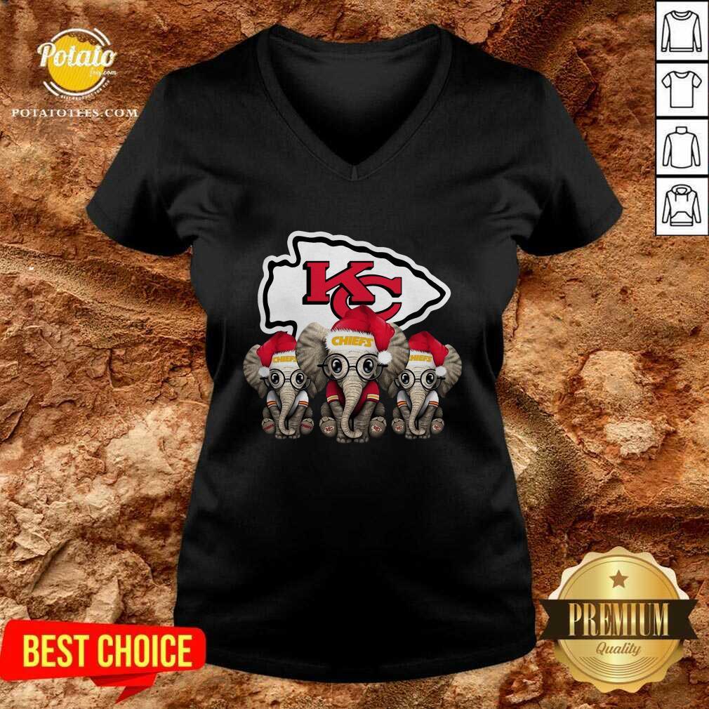 Nice Cute Kansas City Chiefs Elephant Christmas V-neck - Design by potatotees.com